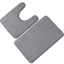 2 Piece Bathroom Rug Bath Mat Memory Foam Bath Mat U-shape Toilet Floor Rug
