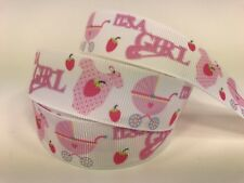 "By The Yard 7/8"" Baby Girl Shower Grosgrain Ribbon For Diaper Cake Etc. Lisa"