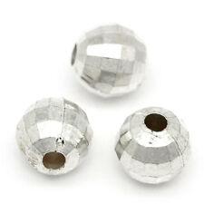 """500PCs Silver Plated Round Faceted Acrylic Spacer Beads 6mm(2/8"""") Dia,"""