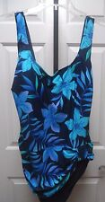 SHORE SHAPES NWT Size 20W Navy w/Turquoise Floral Design Bathing Suit