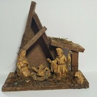 Vintage Nativity Made in Italy Holy Family Lamb Wooden Creche Stable w/Moss