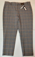 """M&S The Mia Blue Brown Checked SLIM Ankle Grazer Trousers Size 20 S L24"""" RRP £35"""