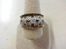 Sterling Silver .925 Faux Onyx Sapphire Diamond Style Ring Size 9