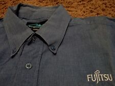 Men's FUJITSU Embroidered Long Sleeve Oxford Dress Shirt XL