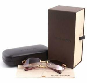 LOUIS VUITTON Sunglasses with Floral Design Gold Frame Women's JAPAN USED