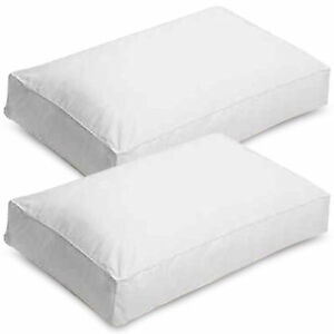 LUXURY DUCK FEATHER & DOWN Box Pillow with Extra Filling & Comfort