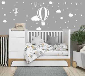 Clouds Stars Air Balloon Nursery Wall Art Stickers Baby Children's Kids Bedroom