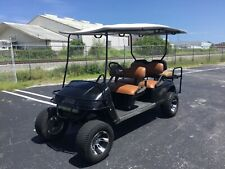 "black Ezgo gas limo 6 passenger Seat lifted golf cart 12"" alloy rims Lights"