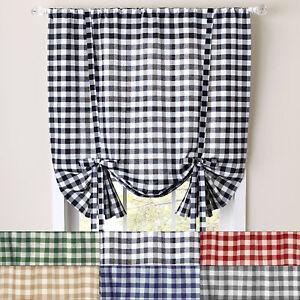 "Buffalo Check Gingham Decorative Tie-Up Window Shade 42"" x 63"""