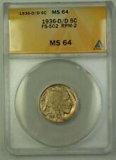 1936-D/D US Buffalo Nickel 5c Coin FS-502 RPM-2 ANACS MS-64