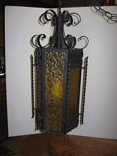 Vintage 1950's Wrought Iron Swag Hanging Lamp Spanish Revival Amber XLT