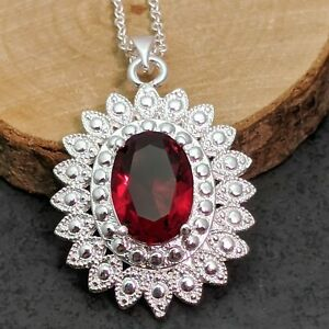 Silver Plated Oval Red Crystal Pendant Necklace