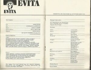 UK Programme Prince Edward Teather EVITA S Lawrence J Turner 1978