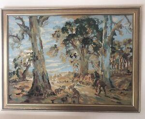Vintage Framed Tapestry Aussie Bush Scene