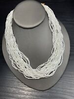 Vintage Torsade White Glass Seed Bead Multi Strand Long Necklace Boho 16""