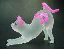 Glass CAT KITTEN White & Pink Frosted Glass Ornament Blown Glass Animal Figure