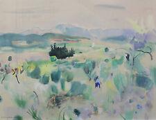 Henri MALVAUX(1908-1994) vue de Provence Jean Giono Malaucène Beaumes-de-Venise