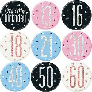 Birthday Badge All Milestone Ages Party Big 3in Size Boys Girls Adult