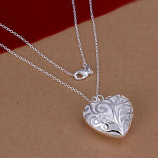 Solid Silver Women Ladies Stereo Heart Pendant Chain Necklace Gift DYS079