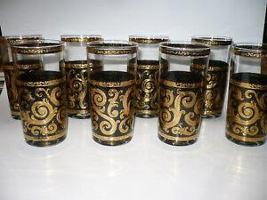 CULVER GLASS BARWARE EBONY BAROQUE PATTERN 8 HIGH BALL GLASSES *NEW IN BOX
