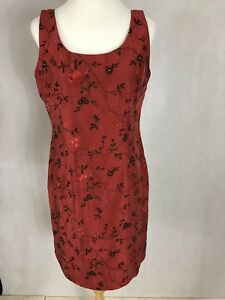 Silk Club Collection Ladies Red Silk Dress, Beaded Embroidered Lined NWT