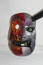392 TWO FACES DEVIL-SKULL MEXICAN WOODEN MASK WALL DECOR diablo-calavera arte