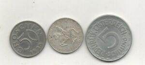 Austria silver 1962 schilling plus 50G 1935 5sch 1952