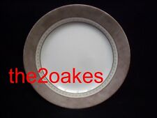 """4 Corelle PEWTER Lunch Luncheon 8-1/2"""" Plates Salad Gray Brown Bands Dots"""