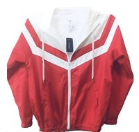 Forever 21 Womens Jacket Sz Small Hooded Red White Zipper Pockets New With Tags