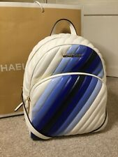 Michael Kors ABBEY Leather Quilted Backpack Ombré Striped Blue BNWTS