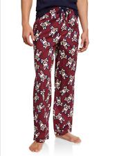 Psycho Bunny Men's Pinot Red Big Bunny All Over Logo Lounge Pajama Pants