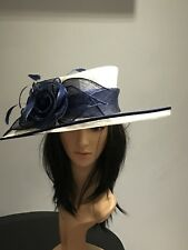 NIGEL RAYMENT WHITE AND NAVY WEDDING ASCOT HAT  MOTHER OF THE BRIDE