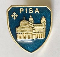 Leaning Tower Of Pisa Italy Souvenir Shield Pin Badge Rare Vintage (G4)