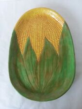"Ceramic Corn on the Cob Serving Tray 9"" x 13"" x 1 1/4"" Yellow Green Decorative"