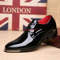 Mens Business Pointed Toe patent Leather Shoes Lace Up Formal wedding shoes