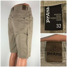 Prana Mens 32 Shorts Tan Cotton Spandex Blend Breathe Hiking Outdoors