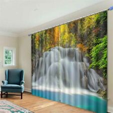 Turquoise Forest Fall 3D Curtain Blockout Photo Printing Curtains Drape Fabric