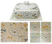 WOODLAND ANIMALS RABBIT FOX SQUIRREL BUTTER DISH & SET OF 4 PLACEMATS & COASTERS