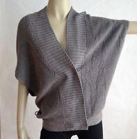 Club Monaco Sweater Size M Dolman Sleeves Gray Vest 100% Merino Wool Womens