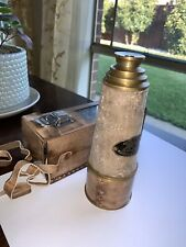BRASS TELESCOPE IN LEATHER CASE VICTORIAN MARINE SPYGLASS ANTIQUE NAUTICAL