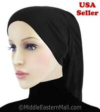Women Muslim Cotton tub cap- Inner Hijab Cap # 1 black Hat Underscarf bonnet
