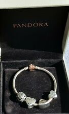 genuine Pandora rose gold bracelet ..with gift box and charms ideal gift