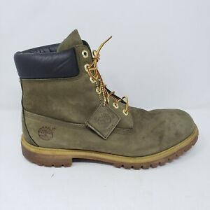 """Timberland Premium 6"""" Waterproof Work Boots Men's 12 Green Black Leather Lace Up"""
