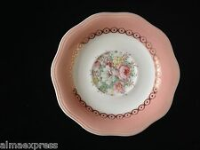 French Saxon Dusty Rose China Pink Coral Band & Floral TEA CUP SAUCER