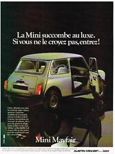 PUBLICITE ADVERTISING  1983   AUSTIN MINI    MAYFAIR 4 cv