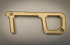 "Antimicrobial Brass Door Opener Tool No Contact USA Made EDC ""The Aider"""
