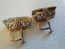1930's 10K Gold Open Hollywood Regency Golden Topaz Rectangle Screwback Earrings