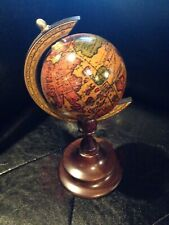 Vintage Decorative Wooden Mini World Globe Wood Spin [Made In Italy]