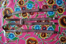 Vintage burgundy check braces suspenders with clip fastening