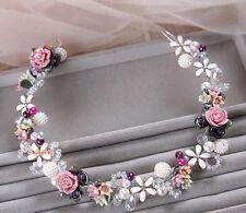 Stunning Bridesmaids Bridal Flower Rose Pearl Multicolour Hair Piece Tiara
